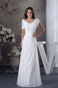 White Chiffon V-neck Long Dresses for Military with Zipper up Back