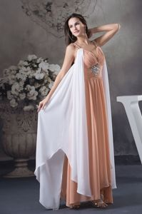Formal Straps Asymmetrical Dresses for Military Ball with Beading