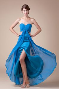 Stylish Blue Sweetheart High Slit Military Ball Formal Dress in Japan