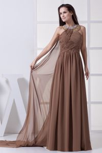 Plus Size Watteau Train Chiffon Ruche Formal Dresses with Beading