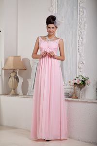 Exclusive Pink Zipper-up Scoop Dress for Military Ball in Chiffon
