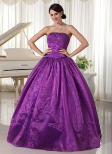 Purple Strapless Lace-up Dresses for the Military Ball with Beading