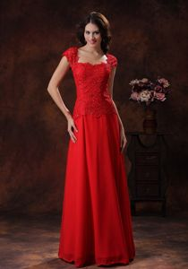 Lace Decorated Evening Gowns for Military Ball with Cap Sleeves