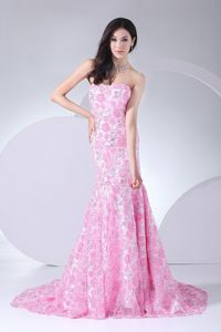 Beautiful Printing Strapless Dress for Military Ball with Brush Train