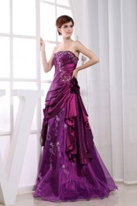 Embroidery Fuchsia Taffeta Strapless Dresses For Military Ball