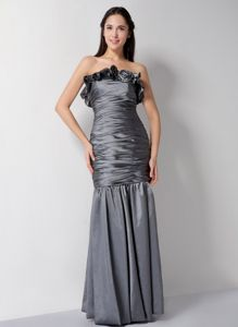 Grey Ruched Military Ball Gown Dresses with Hand Made Flower