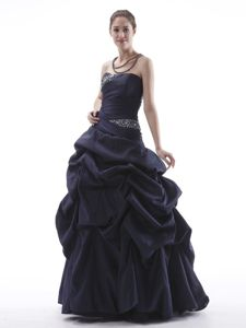 Navy Blue Beaded Pick-ups Formal Dress for Military Balls