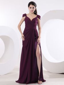 V-neck High Slit Cheap Military Ball Dresses with Cap Sleeves