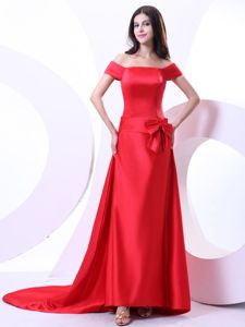 Off The Shoulder Red Train Military Ball Dresses With Bowknot