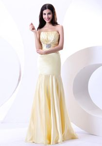 Beading Strapless Light Yellow Long Dresses for Military Ball
