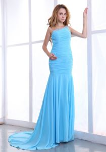 Ruched One Shoulder Light Blue Chiffon Plus Size Formal Dress