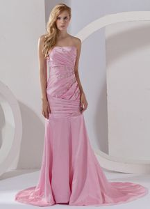 Mermaid Pink Court Train Beading Plus Size Formal Dresses