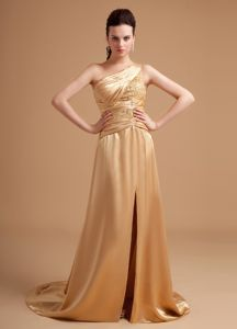 Beading One Shoulder High Slit Champagne Military Ball Gowns