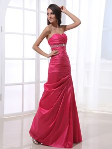 Ruching Beaded Hot Pink Taffeta Dresses for the Military Ball