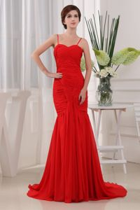 Mermaid Spaghetti Straps Ruched Red Military Ball Dresses