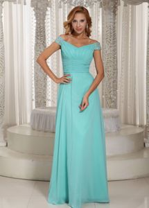 Aque Blue Off The Shoulder Ruched Beading Military Ball Dress