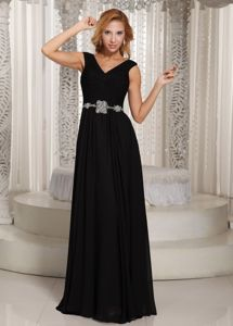 V-neck Black Beaded Chiffon Ruched Military Ball Gown with Belt