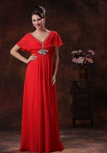 Red V-neck Chiffon Gown For Military Ball with Short Sleeves