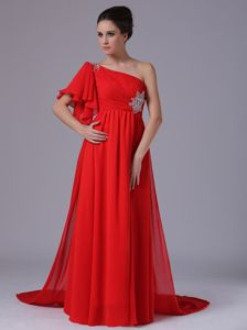 One Shoulder Beaded Red Military Ball Attire with Watteau Train