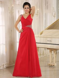 Red Beaded V-neck Red Evening Dresses for the Military Ball
