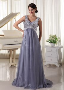 Sequins V-neck Brush Train Grey Gown Dress For Military Balls