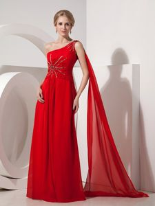 Red One Shoulder Watteau Train Beaded Plus Size Formal Dresses