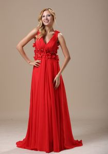 V-neck Hand Made Flowers Beading Ruched Red Military Ball Gowns