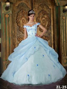 Off The Shoulder Organza Appliques Light Blue Military Attire