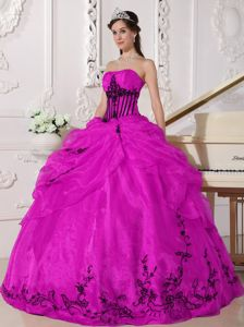 Black Appliques Hot Pink Quinceanera Dress for Military Ball