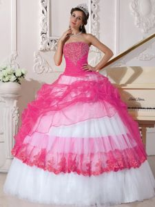 Ruched Hot Pink and White Appliques Military Ball Dresses