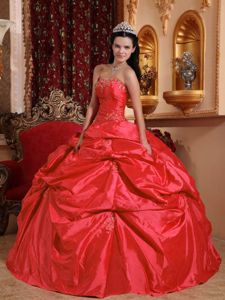 Coral Red Taffeta Beading Military Ball Gowns with Pick-ups