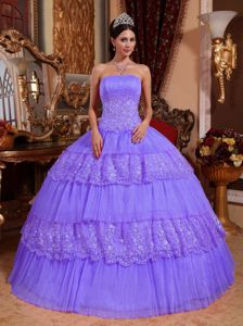 Layered Lace Appliques Lilac Organza Gown for Military Ball