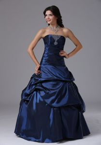 Beaded Ruching Navy Blue Military Ball Dresses with Pick-ups