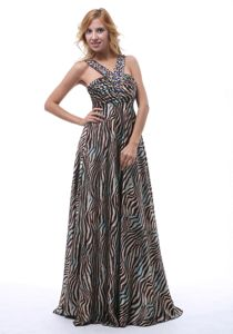 Zebra V-neck Colorful Beading Straps Military Ball Gowns Cheap