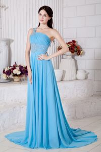 Beading Ruched Aqua Blue One Shoulder Plus Size Formal Dresses