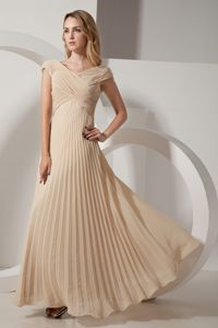 Pleated V-neck Chiffon Champagne Cheap Military Ball Gowns