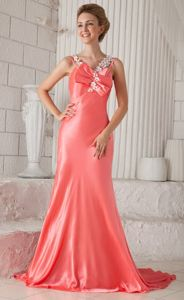 Watermelon Flower Straps Beaded Military Ball Formal Dresses