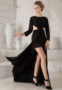 Scoop High-low Black Military Ball Attire with Long Sleeves