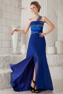 Blue Beaded One Shoulder Brush Train Military Ball Dresses