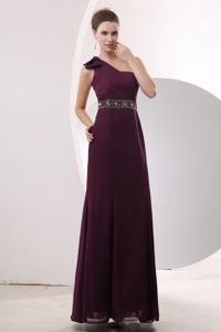 Beading Burgundy One Shoulder Military Ball Dresses Cheap