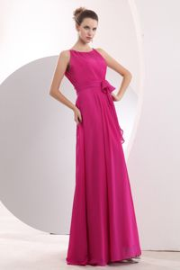 Hot Pink Bateau Formal Dresses For Military Ball with Sash