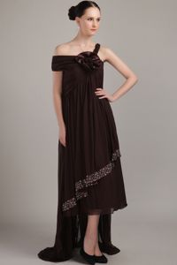 Empire Brown Straps High-low Beading Plus Size Formal Dresses