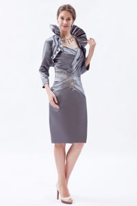 Sheath Sweetheart Beading Military Ball Dress Knee-length in Grey