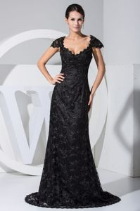 Black Lace Cap Sleeves Scoop Military Ball Gown with Sweep Train