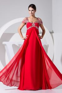 Cap Sleeves Evening Gowns for Military Ball with Appliques in Red