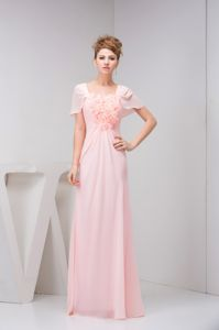 Baby Pink Floor-Length Military Ball Formal Dresses with Short Sleeves