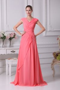 Watermelon Red Ruching Military Ball Dress V-neck Cap Sleeves