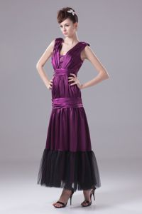 Ruching Ankle-length Gown for Military Ball in Eggplant Purple