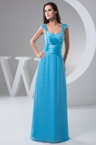 Straps Blue Plus Size Formal Dresses Ruched and Beading