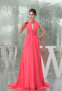 Keyhole Watermelon Military Ball Formal Dresses with Brush Train
